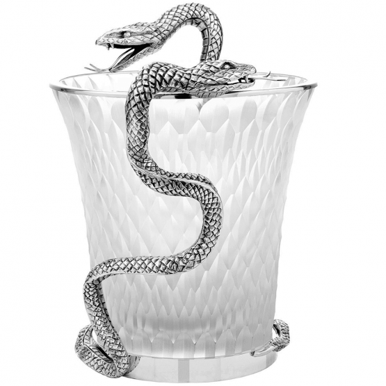 Objets de Luxe ❖ Crystal vase with silver snake