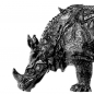 "Preview: Porzellanfigur ""Rhinocerus"" BLACK"